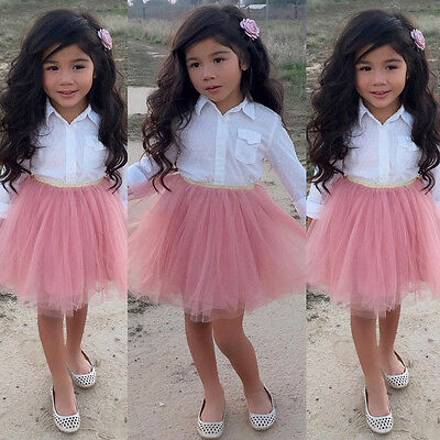 Toddler Kid Baby Girl Clothes T-shirt Shirt Tops + Lace Ruffle Tutu Skirt Outfit
