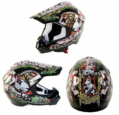 Casco Motard Cross Enduro Off-Road Poker Nero Grafica Step 2 Race One Xs Xl
