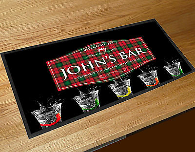 Personalised Red Tartan label Shots bar runner Pubs & Cocktail Bars Bar Mat