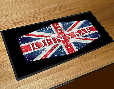 Personalised Union Jack beer label Shots bar runner Cocktail Bars Bar Mat