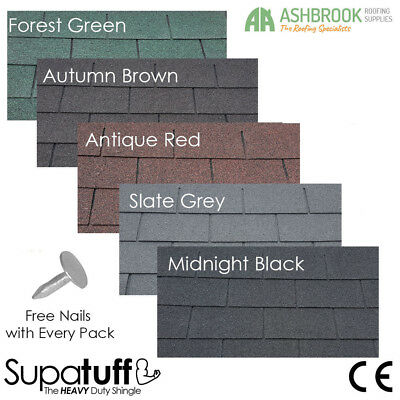 Roofing Felt Shingles | Shed Roof Felt Tiles | Heavy Duty | Square | 4 Tab