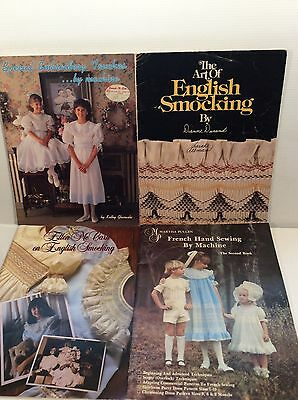 Englsih Smocking + French Hand Sewing Heirloom Lot of 4 Books Martha Pullen +