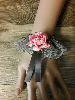 Gray lace cuff bracelet, pink rose wedding, rustic, bridal, boho, hippie