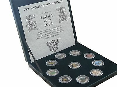 Mexiko 10x 1 Peso Empire of the Inka Farbe Emaille Box COA