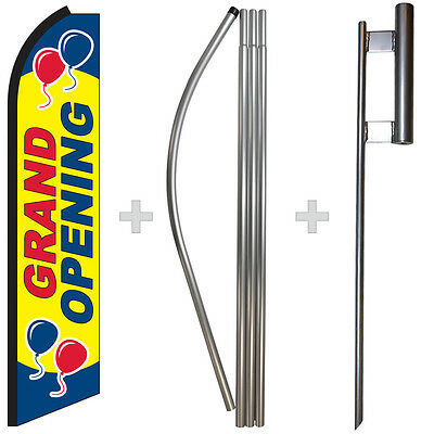 Grand Opening 15' Tall Swooper Flag & Pole Kit Feather Super Bow Banner