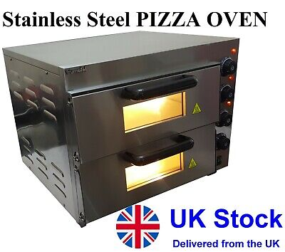 """NEW Pizza Oven Double Deck Electric Stone Base 2x16"""" FULL stainless steel body"""