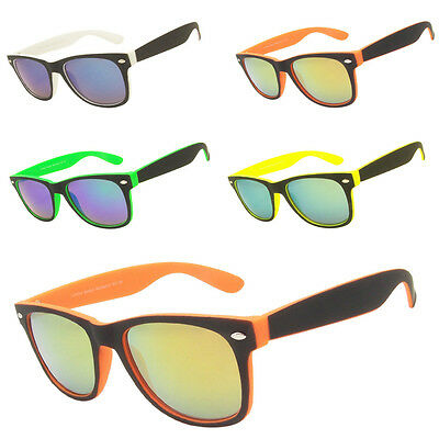 Wholesale Job Lot Classic Horn Rimmed Two Tone Mirror Lens Sunglasses Box of 12