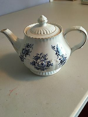 Vintage Ellgreave Teapot Ironstone Div. Of Wood & Sons England Blue White Roses