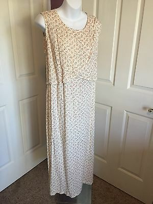NWT Nursing Breastfeeding Dress Rayon Beige Floral Small+ Medium+ Roomy Back Tie