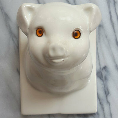 Cutest Faced White Ceramic Pig Head Wall Mount Apron Hanger Towel Hook Kitchen