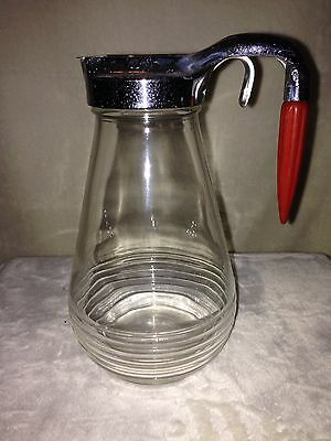 "Vintage 1930 Red Bakelite Handle Glass Commercial Syrup Dispenser LARGE 9.5""Tall"