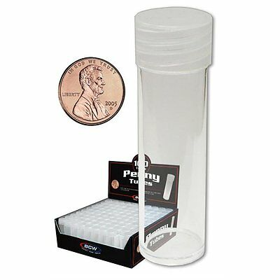 25 New BCW Round Penny / Cent Clear Plastic Coin Storage Tubes w/ Screw On Caps