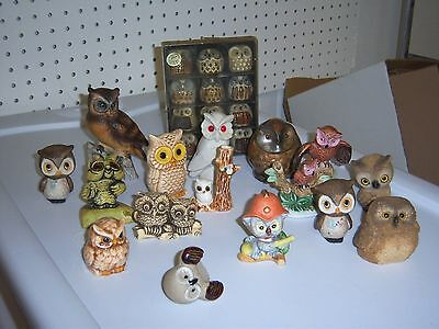 Mixed Lot 16 Vtg Owls Mostly Ceramic Flocked Josef