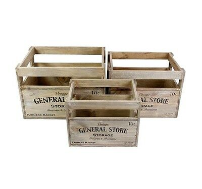 Vintage General Store Wooden Crate Storage Box Fruit Crates Home Basket Boxes