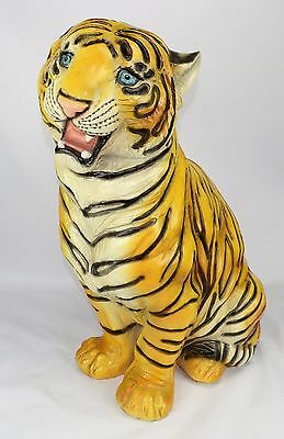 "Large 26"" Tall Sitting Bengal Tiger Resin Sculpture"