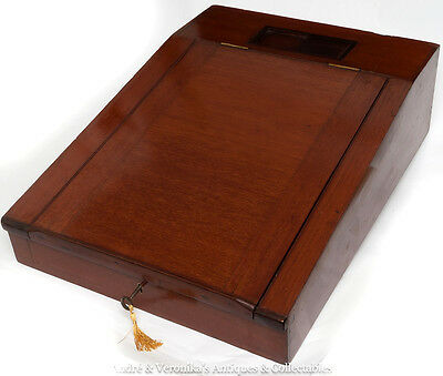 Antique Victorian SOLID MAHOGANY LARGE Desk Lift Top WRITING SLOPE Box Lock+Key
