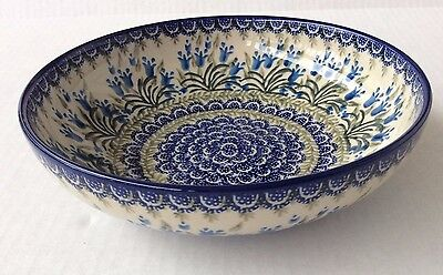 "NEW C.A. Polish Pottery 9"" Serving Fruit Bowl- Blue Bells"