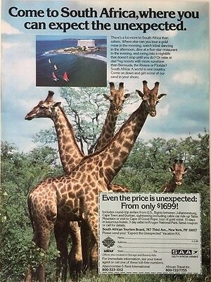1985 SOUTH AFRICA Where You Can Expect the Unexpected TOURISM Vintage PRINT AD