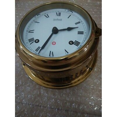 Maritime Stockburger Brass Ships Bell Clock Quartz Made In Germany c1960 Vintage