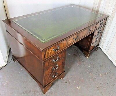 An Antique Style Twin Pedestal Leather Topped Captains Desk ~Delivery Available~