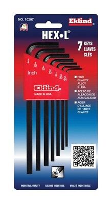 "Eklind Hex-L Key Set Long Arm 7 Piece 5/64 "" 3/32 "" 1/8 "" 5/32 "" 3/16 "" 7/32 "" 1"