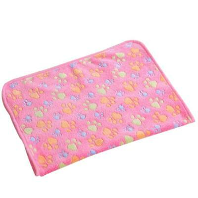 Warm Red Soft Bed Mat pour Pet Dog Puppy Paw Print Pattern Fleece Blanket -