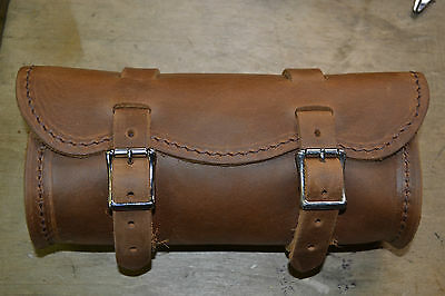"""Handmade 9"""" Crazy Horse Brown Leather Motorcycle Tool Bag"""