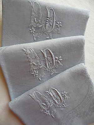 "9 Antique French Linen Napkins  ""soft Grey""  Dinner Napkins  Linen Serviettes"