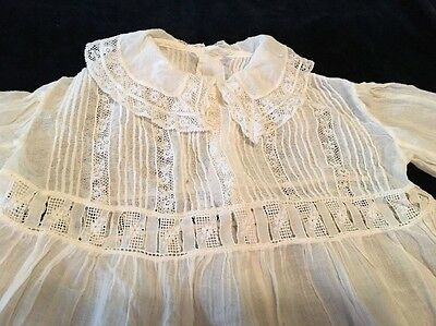 Antique Baby Girl Dress Cotton Lace Must See!