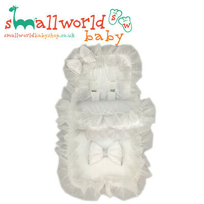 Personalised Boys Girls White Bling Footmuff Cosytoes (NEXT DAY DISPATCH)