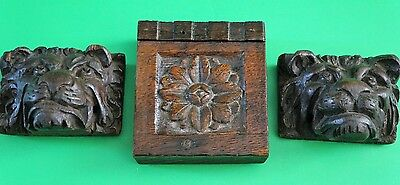 2 French Antique Hand Carved Oak Wood Lion Heads Salvage And Flower 17/18 c