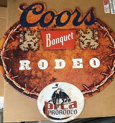 Coors Banquet Rodeo Tin Sign PRCA Pro rodeo 2'x2' Large Piece .