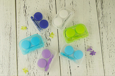 Colorful Transparent Portable Mini Contact Lens Case Box Holder Container