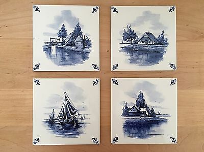 "Vintage Delftware Blue Delft Tiles 6"" Landscape House Ship Tile Set Lot of 4"