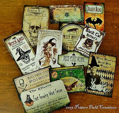 12 Halloween Vintage prim Witch Apothecary potion bottle Label stickers Series 4