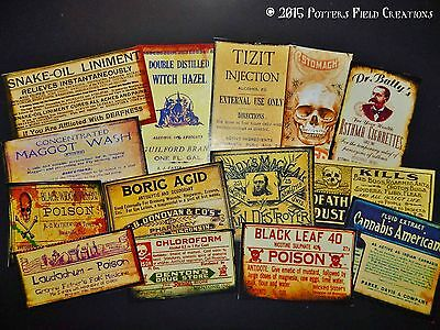 14 Halloween Vintage prim Witch Apothecary potion bottle Label stickers Series 8