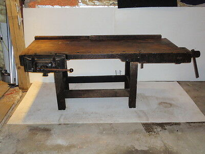 antique wood work  bench with  Emmerits  1891 pattern vice