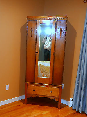 Oak armoire with mirror