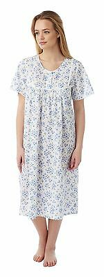 Marlon Ladies Short Sleeved 100% Cotton Nightdress - Blue Bow Floral - BNWT