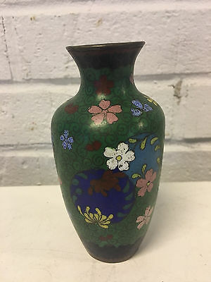 Antique Chinese Cloisonne Small Green Vase w/ Floral Decoration