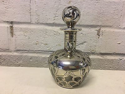 Antique Sterling Silver Overlay Clear Glass Perfume Bottle