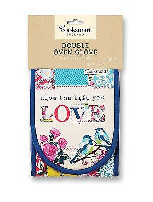 Cooksmart Double Oven Glove Mitt Oriental Patchwork Heat Resistant Cotton Mitts