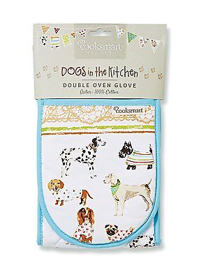 Cooksmart Double Oven Glove Mitt Dogs Best in Show Heat Resistant Kitchen Mitts