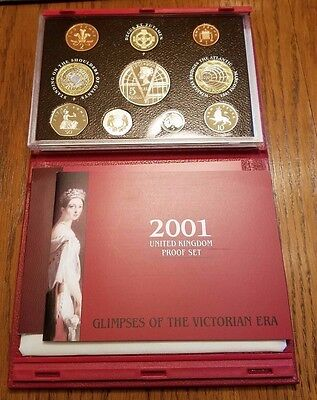 2001 Royal Mint United Kingdom Deluxe Proof Set With COA and Leather Case
