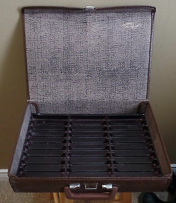 Vintage Brown Portable BRIEF Case CASSETTE Tape Holder with Plastic Inserts