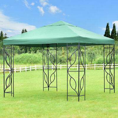 10'x10' Gazebo Canopy Shelter Patio Wedding Party Tent Outdoor Awning Green
