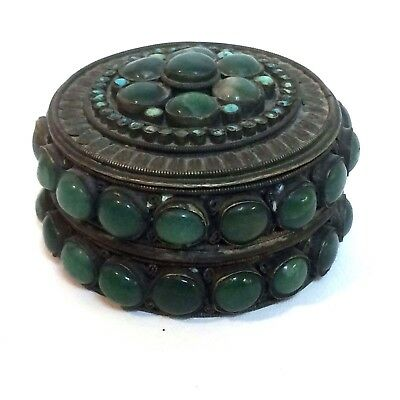 Antique 19th Century Chinese Silver Covered Box W/ Hard stone & Turquoise Bezel