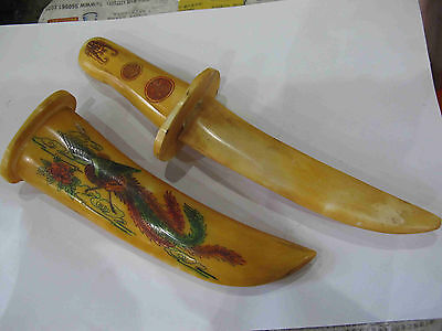 Chromatic Rare old Chinese bone SWORD Painting dragon A335