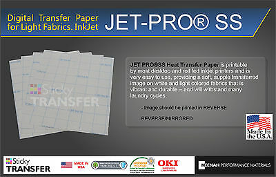 "JET-PRO Sof Stretch Inkjet Printer Heat Press Transfer Paper 8.5""X11"" 5 SHEETS"