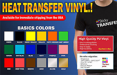 "Htv Vinyl Textil PU for T-shirt 20"" x 12""  Heat Transfer vinyl heat press"